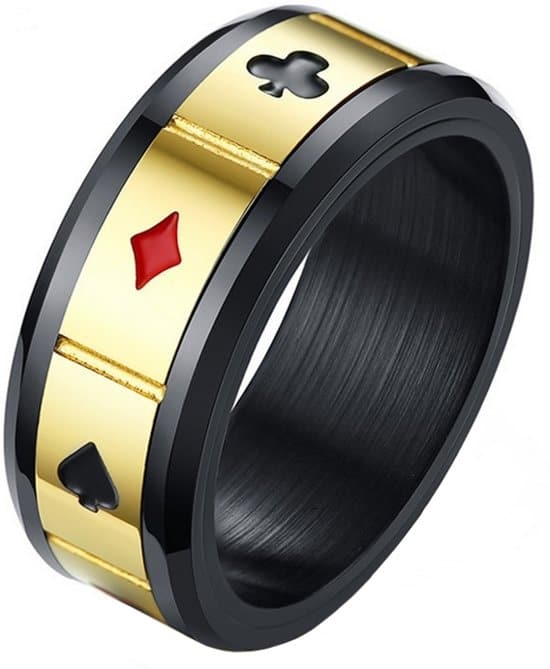 Stalen mannen ring lucky cards